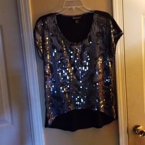 Silver Sequenced Front Ladies Top M